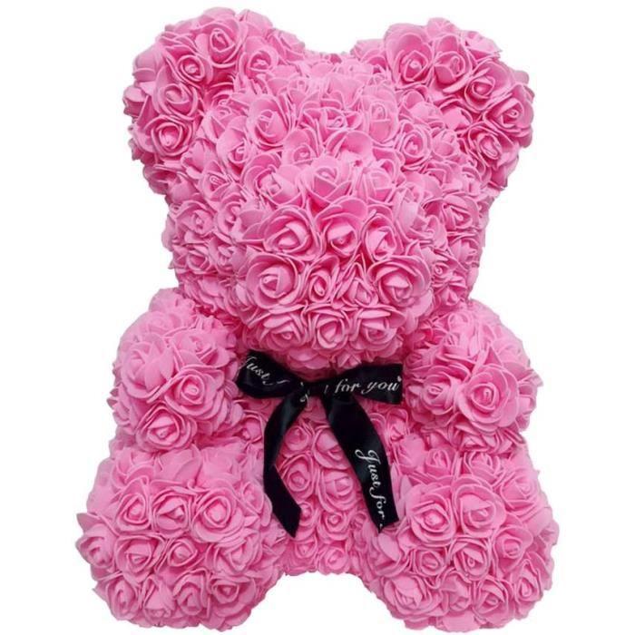 Fleur de rose en ours - Pour cadeau d'anniversaire et saint valentin - rose