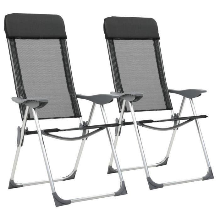Chaise pliante de camping 2 pcs Noir Aluminium-MAD