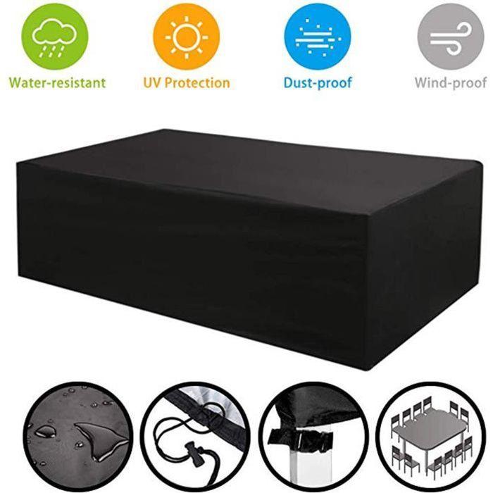 Housse de protection table de jardin étanche Housse Meuble Bâche polyester 420D - 315*160*74CM