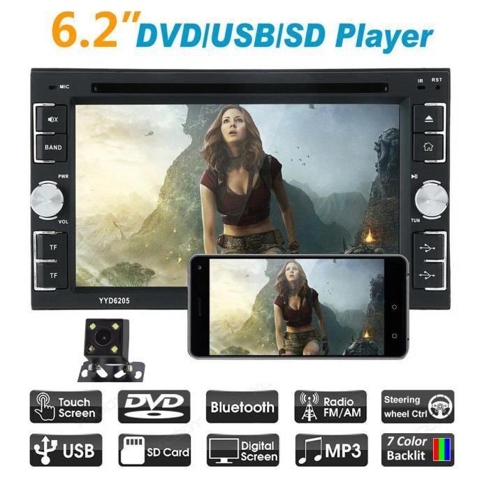 Universel 2 din voiture lecteur Bluetooth Radio 2din Android avec caméra de recul 6.2 -écran tactile vidéo MP5 lecteur lecteur DVD d