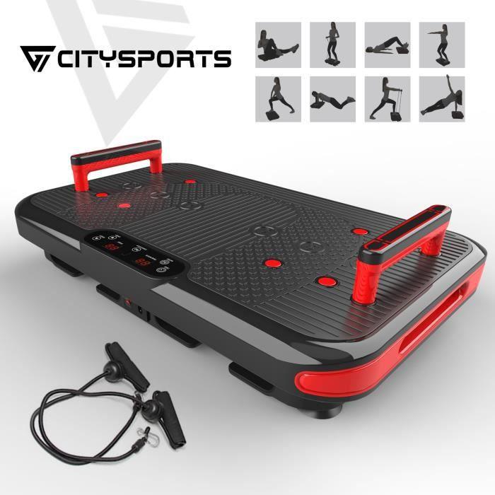 CITYSPORTS Plaque Vibrante Fitness CS-600 Plateforme Vibrante Bluetooth, 50 Vitesses Réglables + 2 Poignées Intégrées