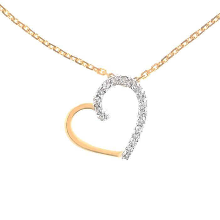 Pendentif Or Jaune et Diamants 0.05 carats COEUR PRECIEUX + chaine vermeil offerte