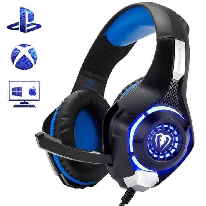 Casque Gaming pour Ps4 Xbox one Casque Gamer avec Micro Anti Bruit Led Lampe Stéréo Basse Contrôle du Volume Microphone Réglable