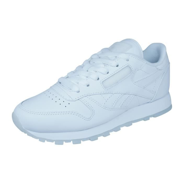 Reebok Classic Leather Solids Cuir Baskets Homme Blanc 2.5