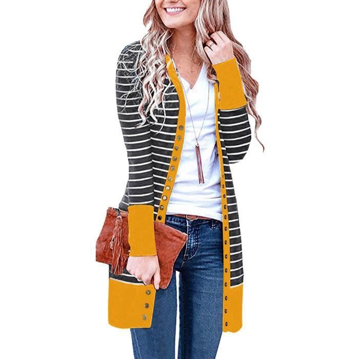 Pull cardigan Femmes Casual Manches Longues Rayure Patchwork Long Cardigan Tops Blouse Manteau