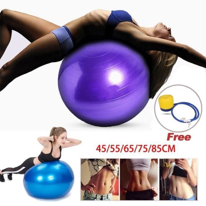 NEUFU Ballon de Gymnastique Avec Pompe Anti-éclatement épaissie PVC Fitness Balance Ball Violet 65cm