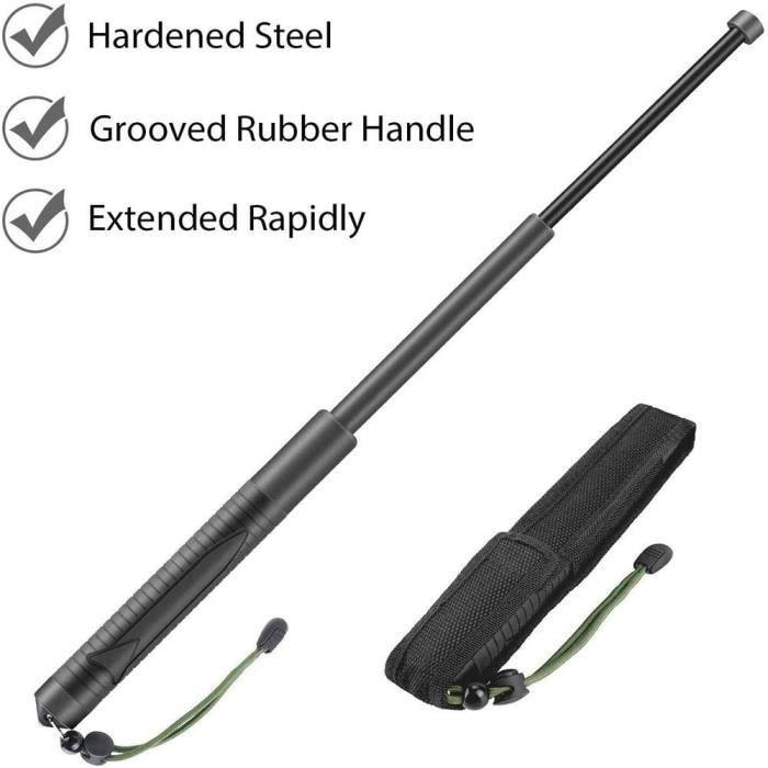 Bâton d'autodéfense extérieur fouet bâton rétractable en 3 sections bâton télescopique outil d'évacuation d'urgence