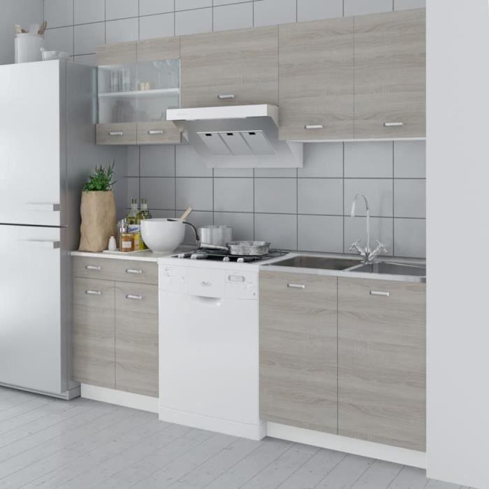 Cuisine Complète Buffet de Cuisine Armoire de cuisine Meuble de cuisine aspect de chêne 5 pcs 200 cm