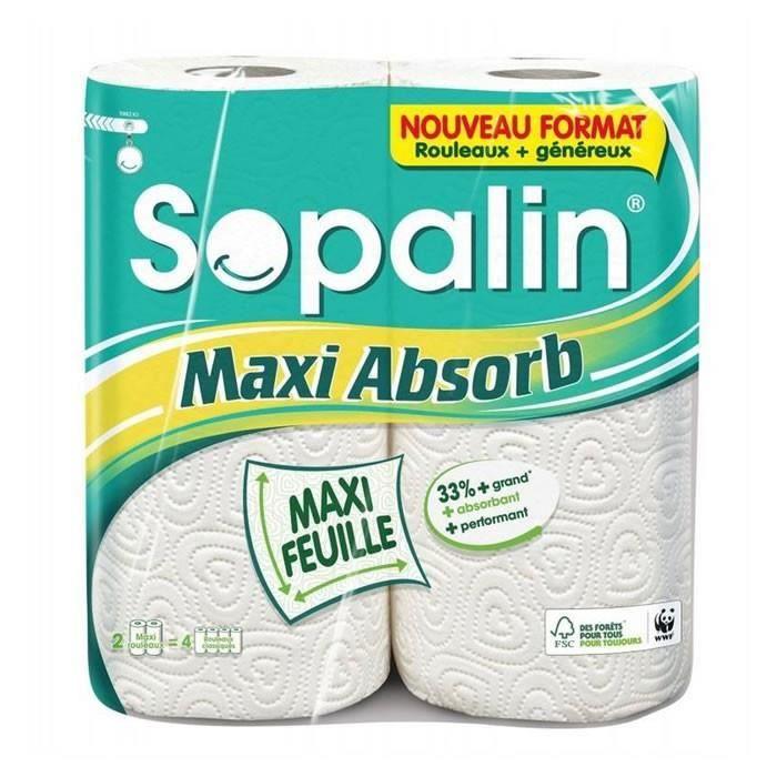 LOT DE 4 - SOPALIN Maxi Absorb Essuie-tout maxi feuille maxi absorbant - 2 rouleaux