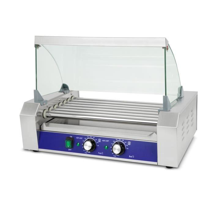 Vertes Gril à saucisses Hot Dog (7 rouleaux, 1400 Watt, température 50-250 °C, 2 zones de chauffage, couvercle en verre trempé)