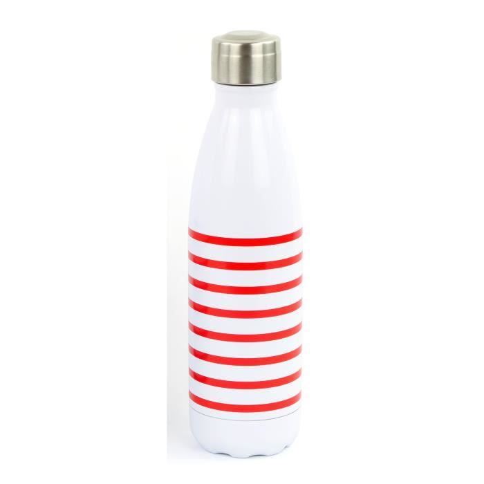 YOKO DESIGN Bouteille isotherme Marinière - Rouge - 500 ml