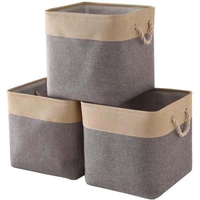 ZG26169-Cube de Rangement Tissu,Panier Cube de Rangement,Boite de Rangement Pliable Jouets,Vêtement 33x33x33cm(Lot de 3,Beige Gris