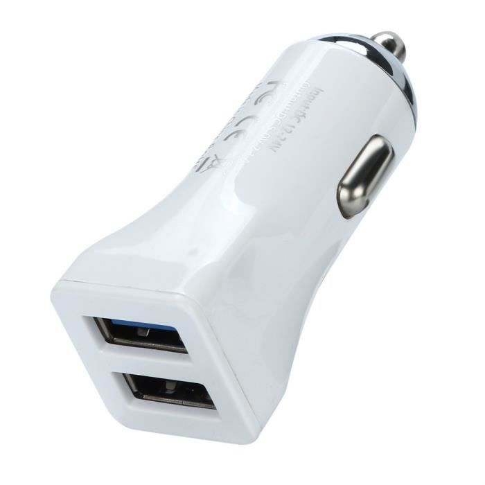 PRISE ALLUME-CIGARE 2.1A double chargeur voiture USB 2 Port 12-24 pris
