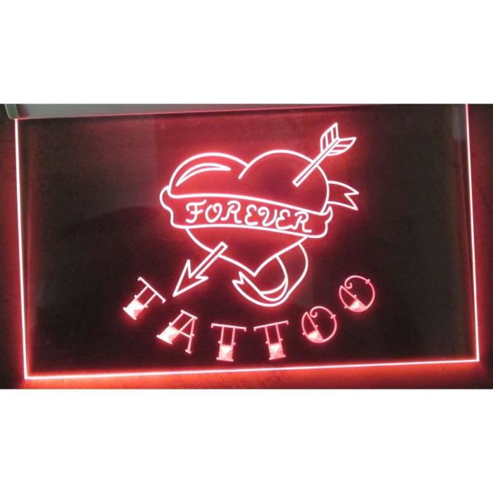 Enseigne lumineuse neon tattoo coeur forever tatouage for Decoration murale neon