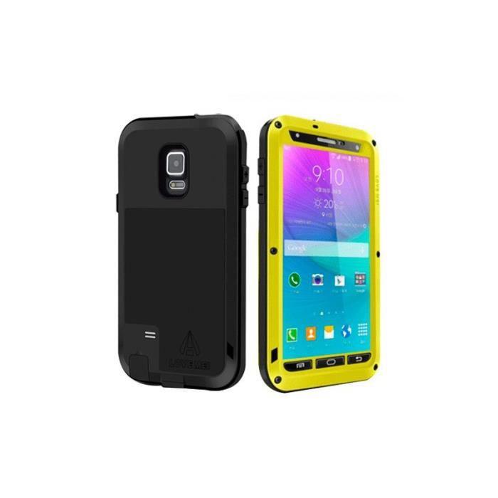 Coque Samsung Galaxy Note 4 Jaune LOVE MEI Metal Ultra-Fin ...