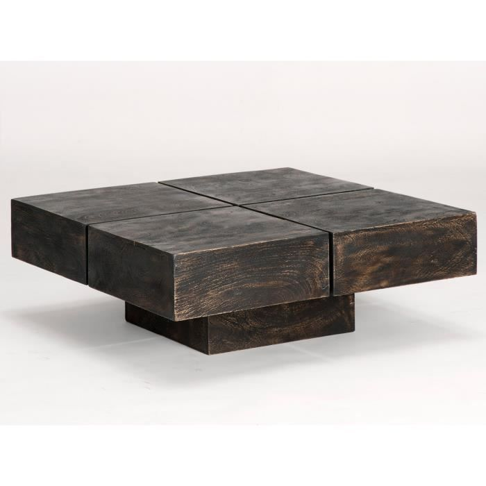 table basse carr e cube 80x80 en manguier colonial massivum achat vente table basse table. Black Bedroom Furniture Sets. Home Design Ideas