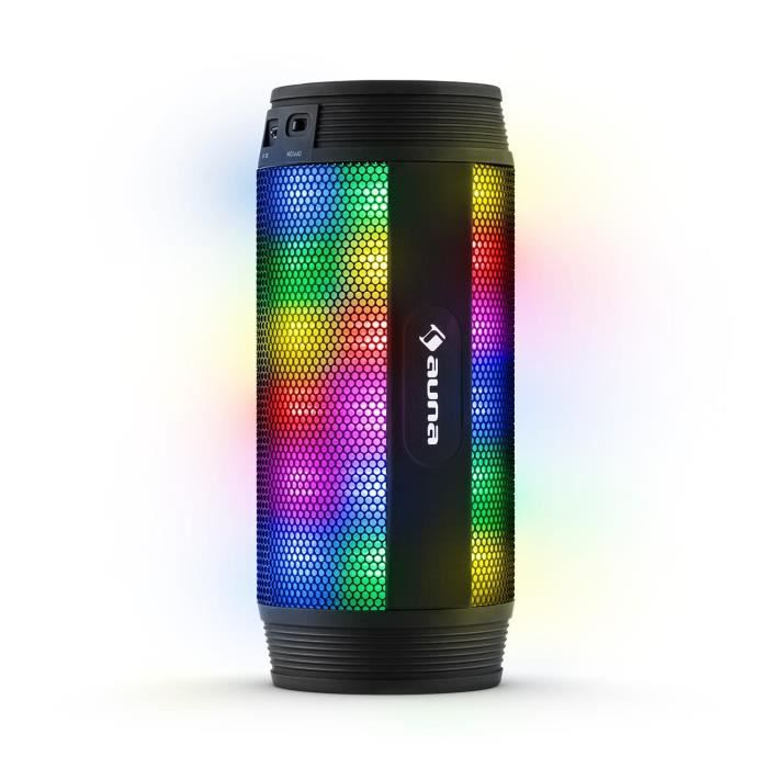 auna dazzl enceinte bluetooth 4 0 avec batterie int gr e et effets de lumi re led multicolore. Black Bedroom Furniture Sets. Home Design Ideas