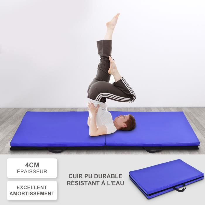 Yoga tapis gymnastique Tapis 190 x 60 x 1,5 cm Bleu Fitness Tapis salive