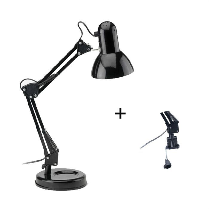 techno lampe de bureau articul e en m tal noir achat vente techno lampe de bureau noire. Black Bedroom Furniture Sets. Home Design Ideas