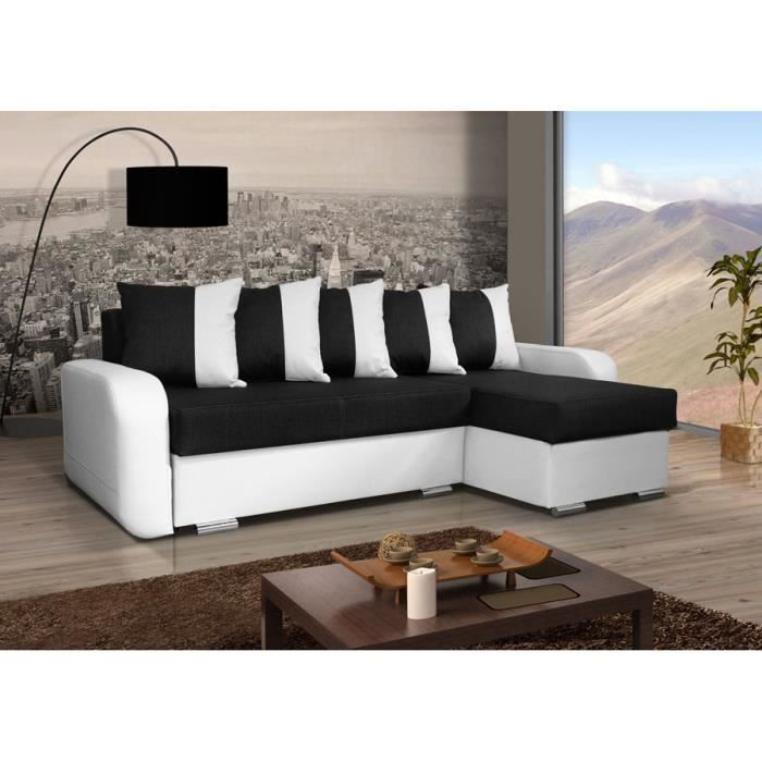 canap convertible calypso noir et blanc achat vente canap sofa divan tissu simili. Black Bedroom Furniture Sets. Home Design Ideas