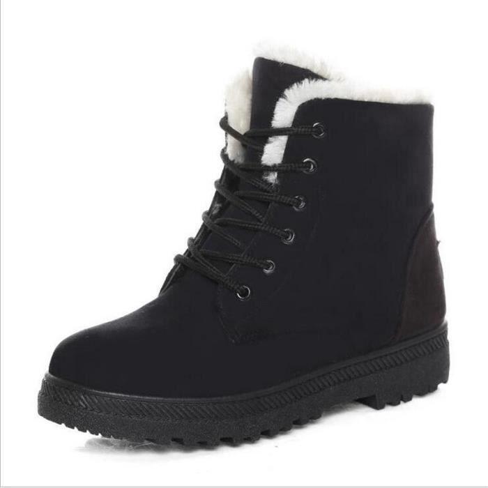bottes d'hiver noir cheville 2016 Neige bottes femme kXOZiuTP