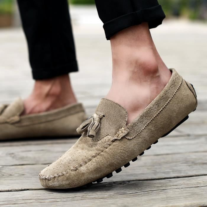 Mode homme respirant Suede Mocassins Slip plat Casual Ons voSm3m