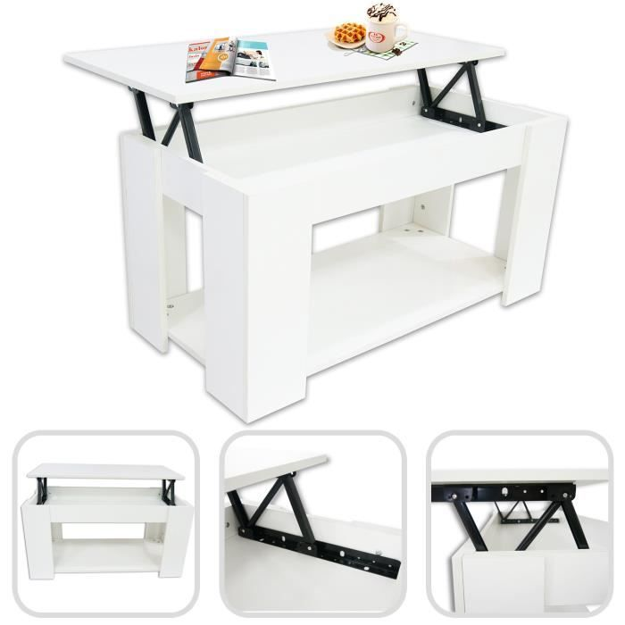 Table basse avec plateau relavable achat vente table for Petite table basse rectangulaire