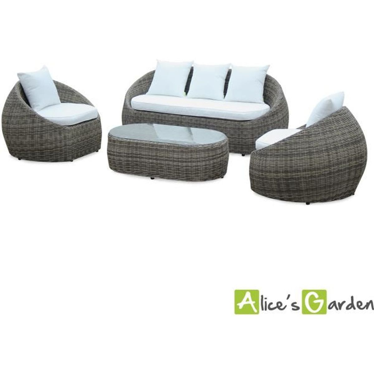 Salon de jardin design arrondi ritardo en r sine tress e arrondie 4 places table canap et - Salon de jardin resine tressee gris ...