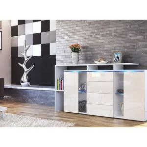 bahut vitre laque blanc achat vente bahut vitre laque. Black Bedroom Furniture Sets. Home Design Ideas