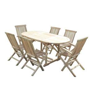 Ensemble table et chaise de jardin Salon de jardin en teck SOLO 4 chaises et 2 fauteu