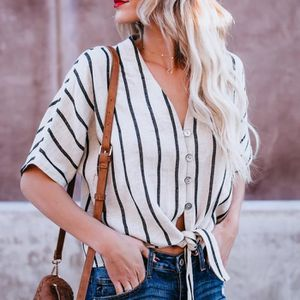 T-SHIRT Mode Femmes à manches courtes Bouton rayé Knot Tee