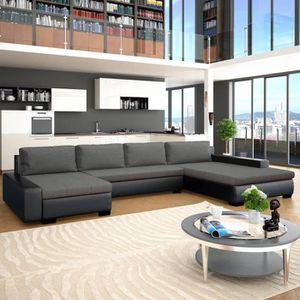 STRUCTURE DE LIT Canapé-lit modulaire Similicuir Noir et gris foncé