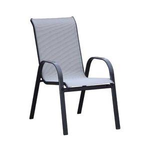 SALON DE JARDIN  Fauteuil Textilène/Aluminium Gris - AIKO - L 55 x
