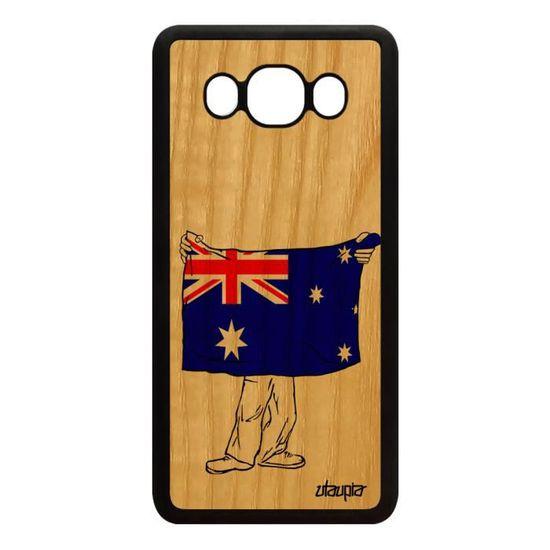 Coque silicone pour Samsung Galaxy J5 2016 bois drapeau australie australien pas cher telephone Dual sim jo football foot noir rugby