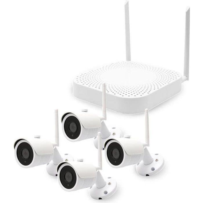 Kit de vidéosurveillance avec un enregistreur réseau et 4 caméras IP WiFi HD 1080P HDD 1 To