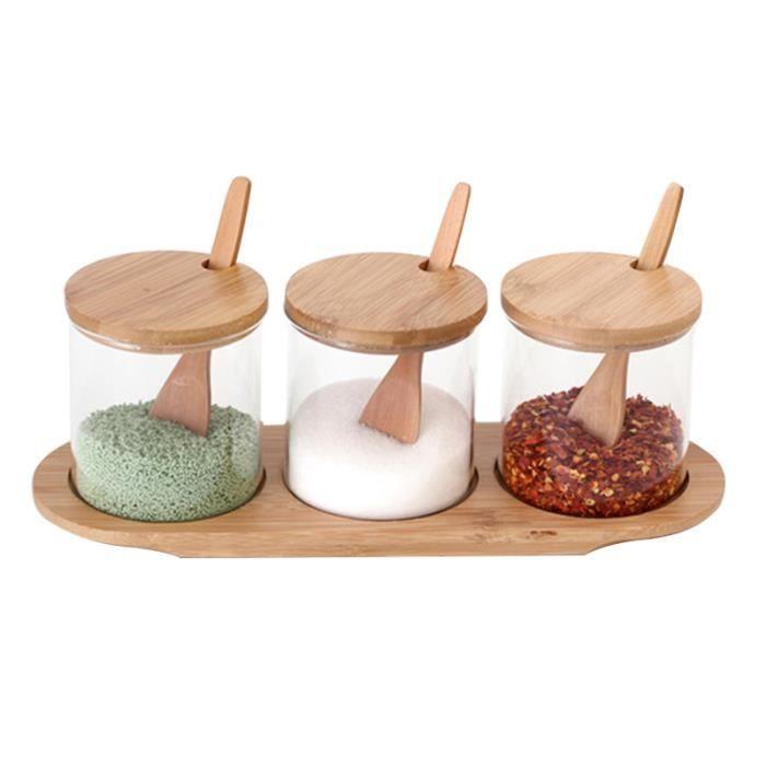3pcs ustensiles de cuisine sel amidon de maïs sucre épices boîte d'assaisonnement pour la POT A EPICES