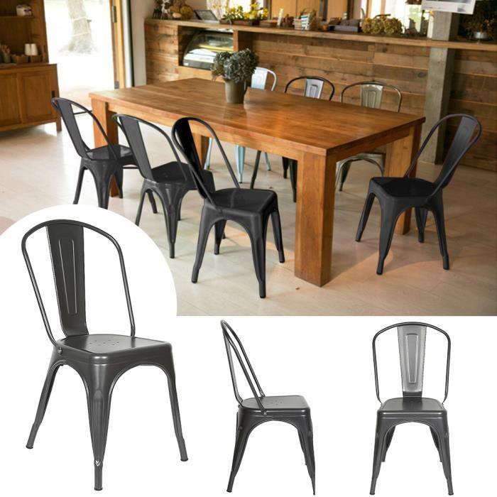 Lot de 8 Chaises Salle à Manger CASNELY en métal de Style Industriel Design Mat Gris