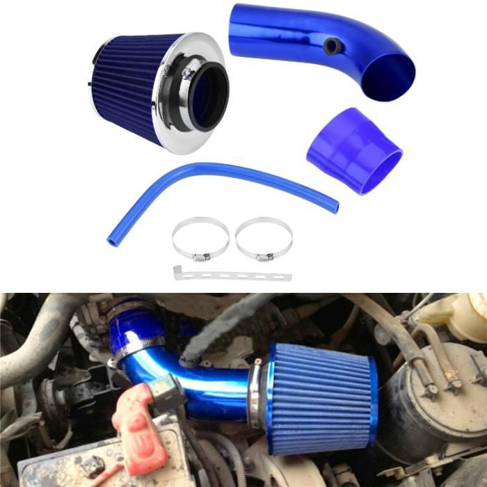 Kit de tuyau de tuyau d'induction en aluminium de filtre d'admission d'air froid de voiture universel de 76mm 3 pouces bleu -JID