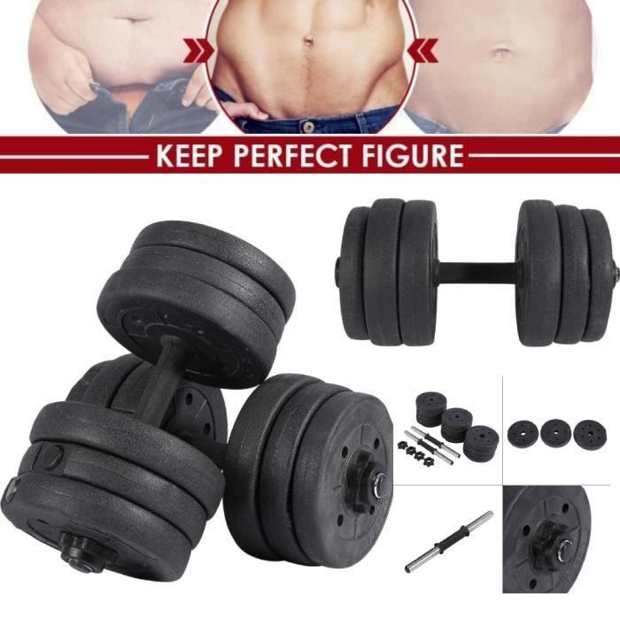 Drfeify Set d'Haltères 20 kg - haltères d'entraînement pour les haltères de fitness puissants -OLL