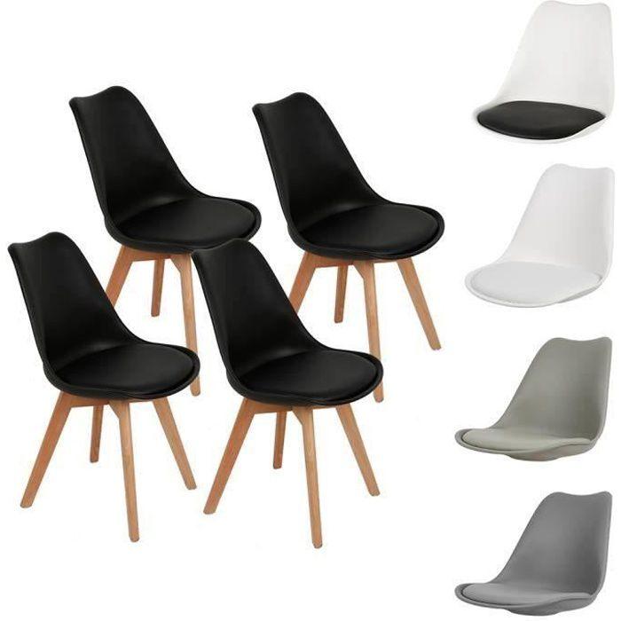 Lot de 4 Chaises à Manger Style Scandinave avec Coussin - Noir