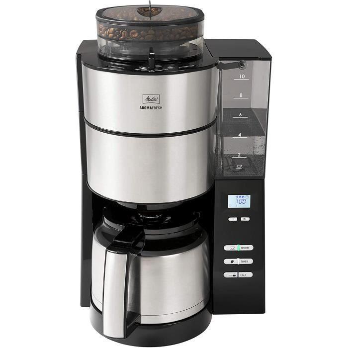 Melitta AromaFresh Therm 1021-12, cafetière à filtre avec moulin à grains, bouilloire isolée, fonction programmable, 10 tasses