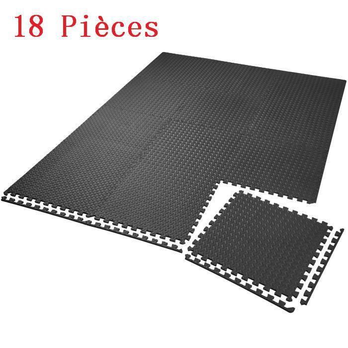 Tapis de Protection de Sol - 18 Dalles en Mousse + Bordures - Tapis de sol, Sport, Gymnastique, Yoga