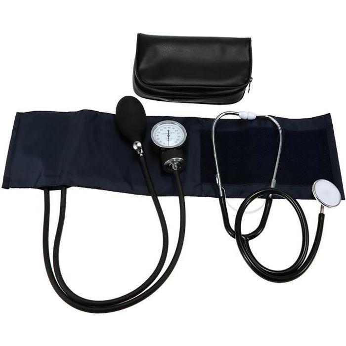 Kit de brassard de sphygmomanomètre anéroïde, Stéthoscope de pression artérielle du bras pour adulte, avec sac à glissière