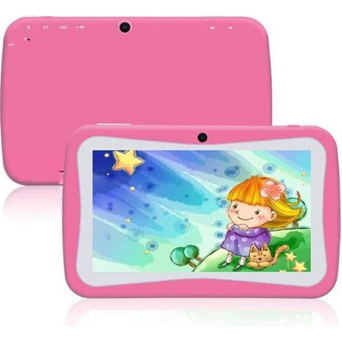 Tablette tactile enfant, contenu éducatif et ludique, contrôle Parental,8Gb, Android, Wi Fi, Bluetooth, Google Play, Youtube (Rose)