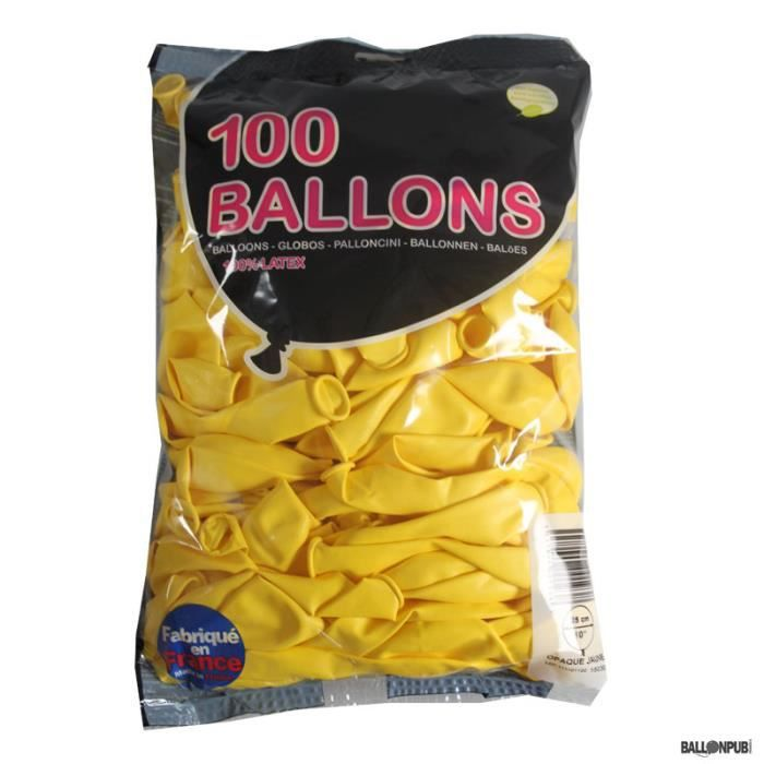 100 Ballons de Baudruche couleur Jaune -