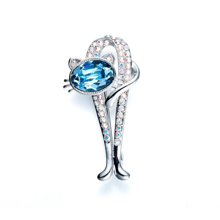 Broche Chat en Cristal de Swarovski Elements Bleu - Blue Pearls