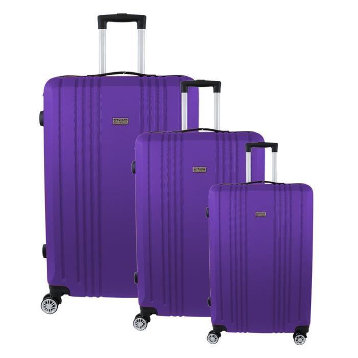 CITY BAG Set de 3 Valises ABS Violet