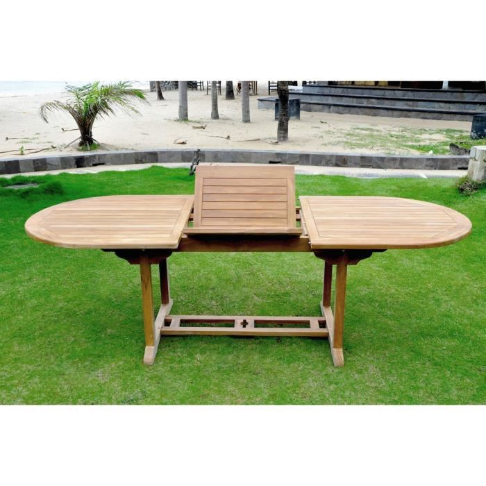 Table de jardin ovale extensible Kajang , 10 personnes, en teck brut