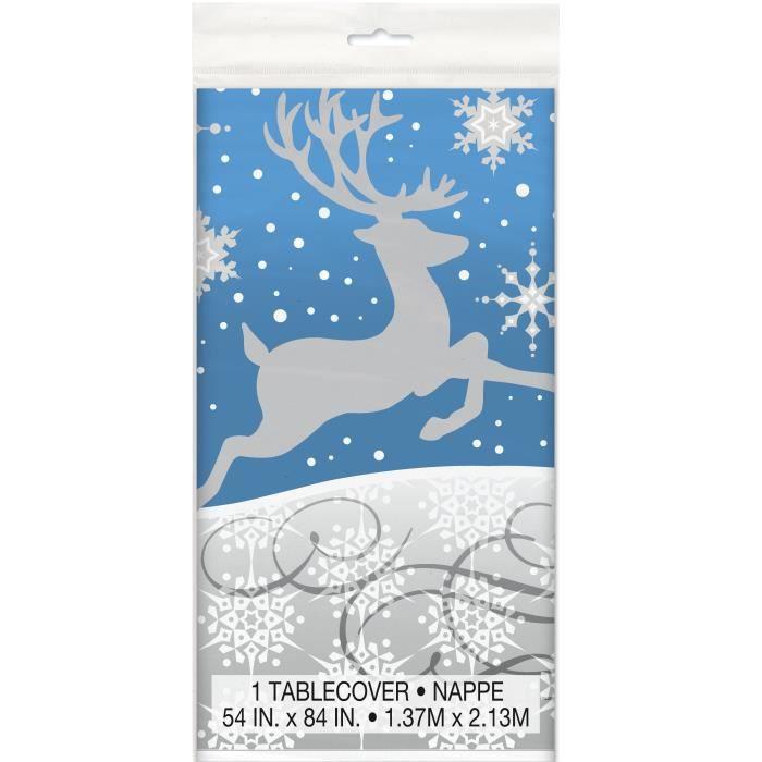 Nappe plastique flocons et renne de Noël 137 x 213 cm