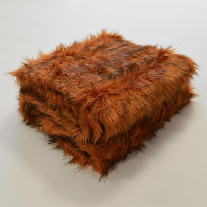 Plaid en fourrure à poils longs Cuivre 130 x 170 cm